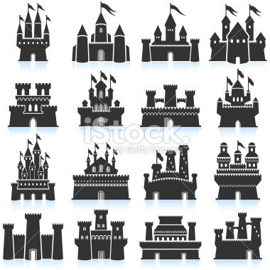380x380 Medieval Castle Black And White Royalty Free Vector Interface Icon