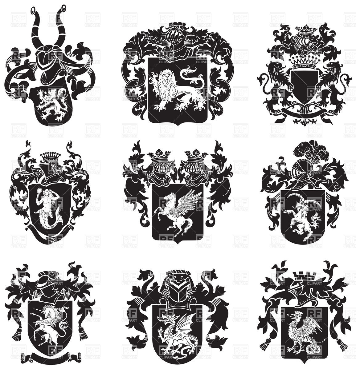 1155x1200 Medieval Heraldic Emblems With Mythical Animals Vector Image