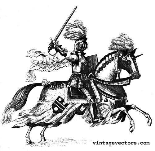 500x485 Vector Art Medieval Knight On Horseback In Armor Vintage Vectors
