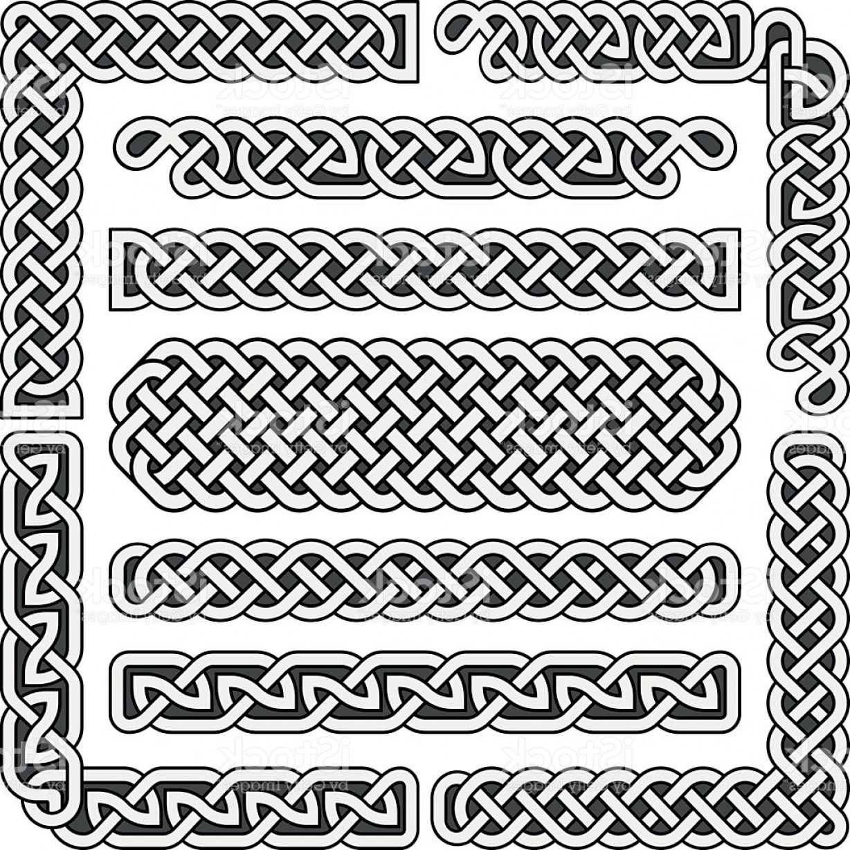 1228x1228 Celtic Knots Vector Medieval Seamless Borders Patterns And