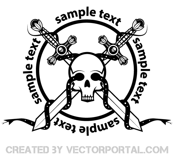 600x560 Crossed Sword With Skull Badge Vector Art Medieval Vector Graphics