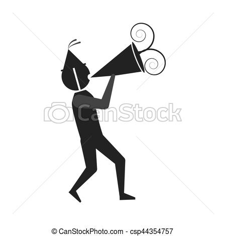 450x470 Man With Party Megaphone Icon, Vector Illustration.