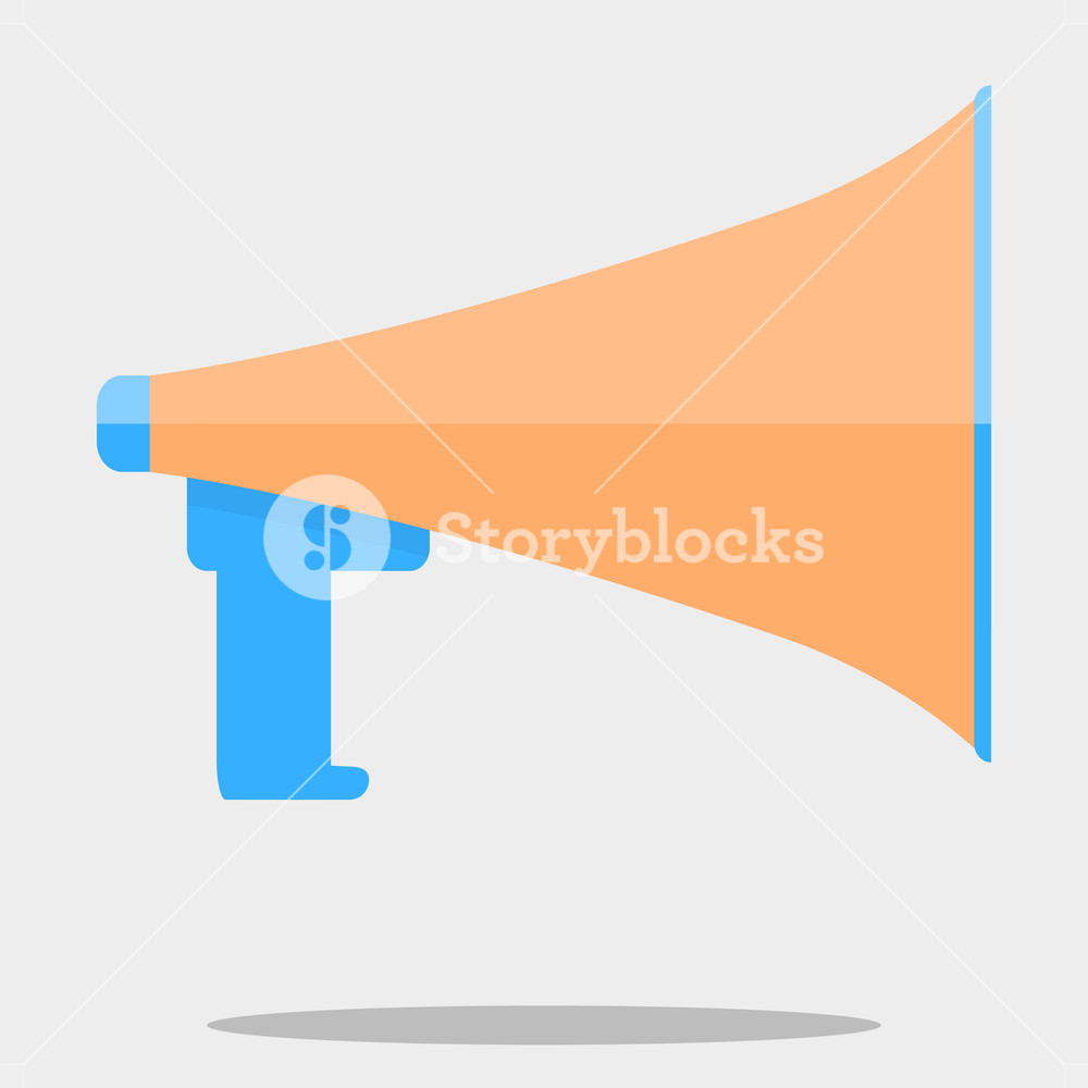 1000x1000 Megafone Isolated Vector. Megaphone Icon, Speaker For Announcement