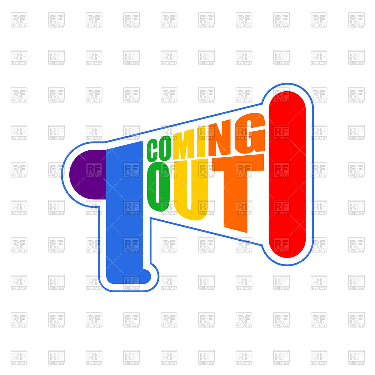 1200x1200 Coming Out Lgbt Sign. Rainbow Megaphone Icon. Vector Image
