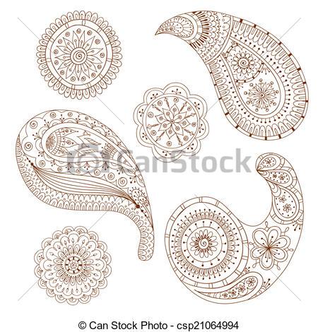 450x470 Henna Paisley Mehndi Vector Design Element. Henna Paisley Mehndi