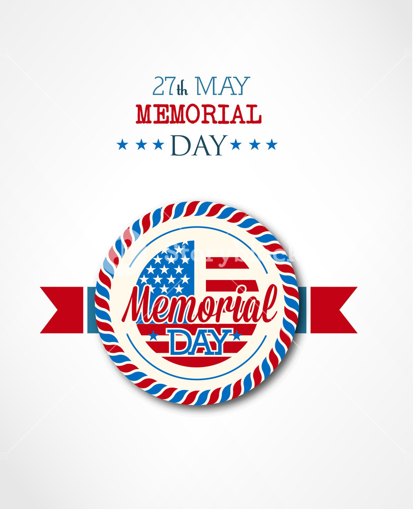 810x1000 Memorial Day Vector Illustration With American Badge Royalty Free