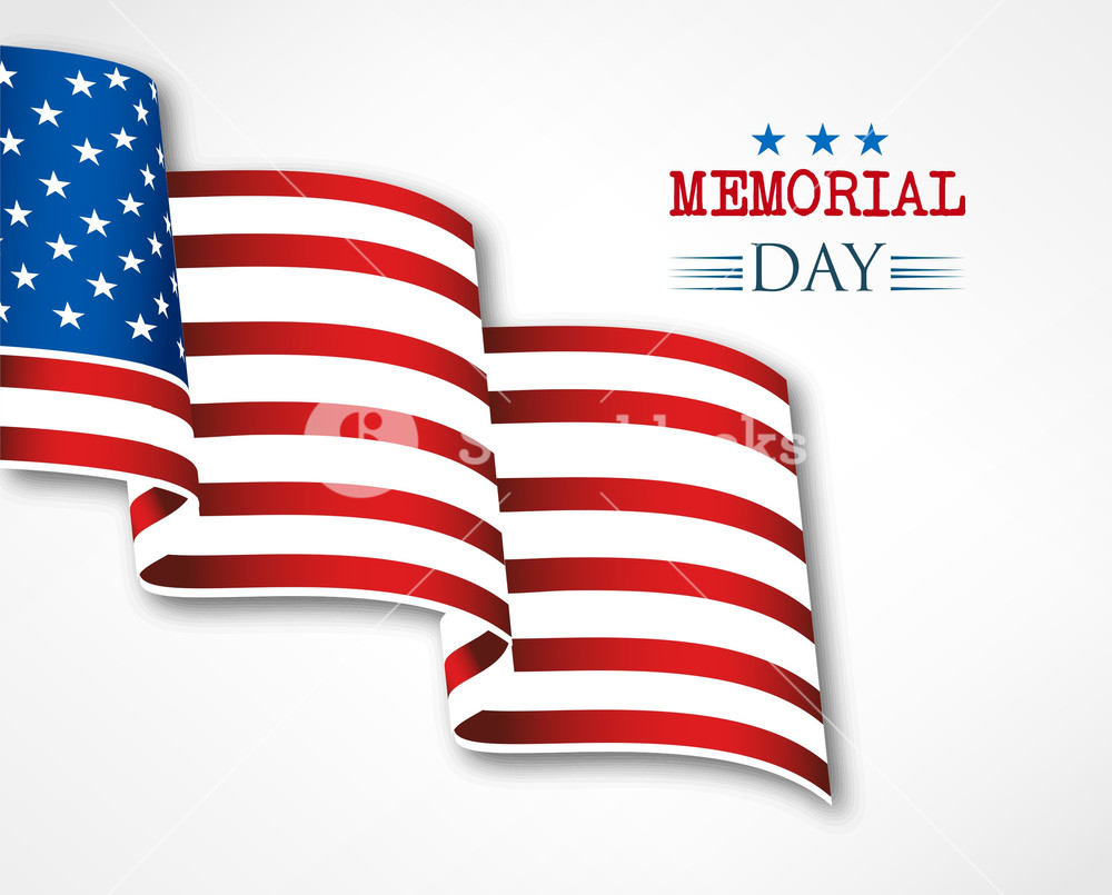 1000x805 Memorial Day Vector Illustration With American Flag Royalty Free