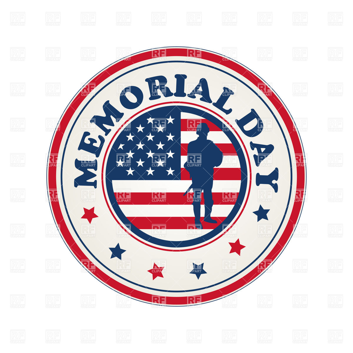 1200x1200 Memorial Day Stamp With Flag Of Usa Vector Image Vector Artwork
