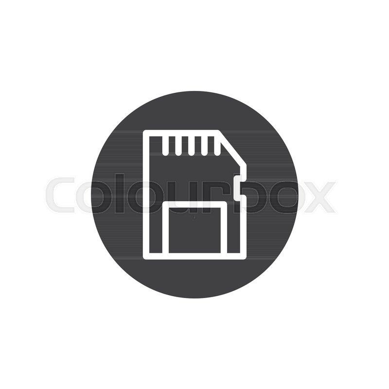 800x800 Memory Card Icon Vector, Filled Flat Sign, Solid Pictogram