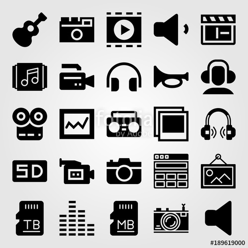 500x500 Multimedia Vector Icon Set. Playlist, Trumpet, Memory And