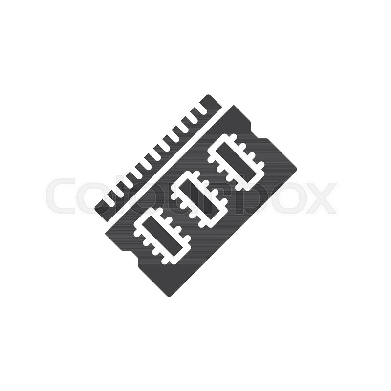 800x800 Ram Memory Icon Vector, Filled Flat Sign, Solid Pictogram Isolated
