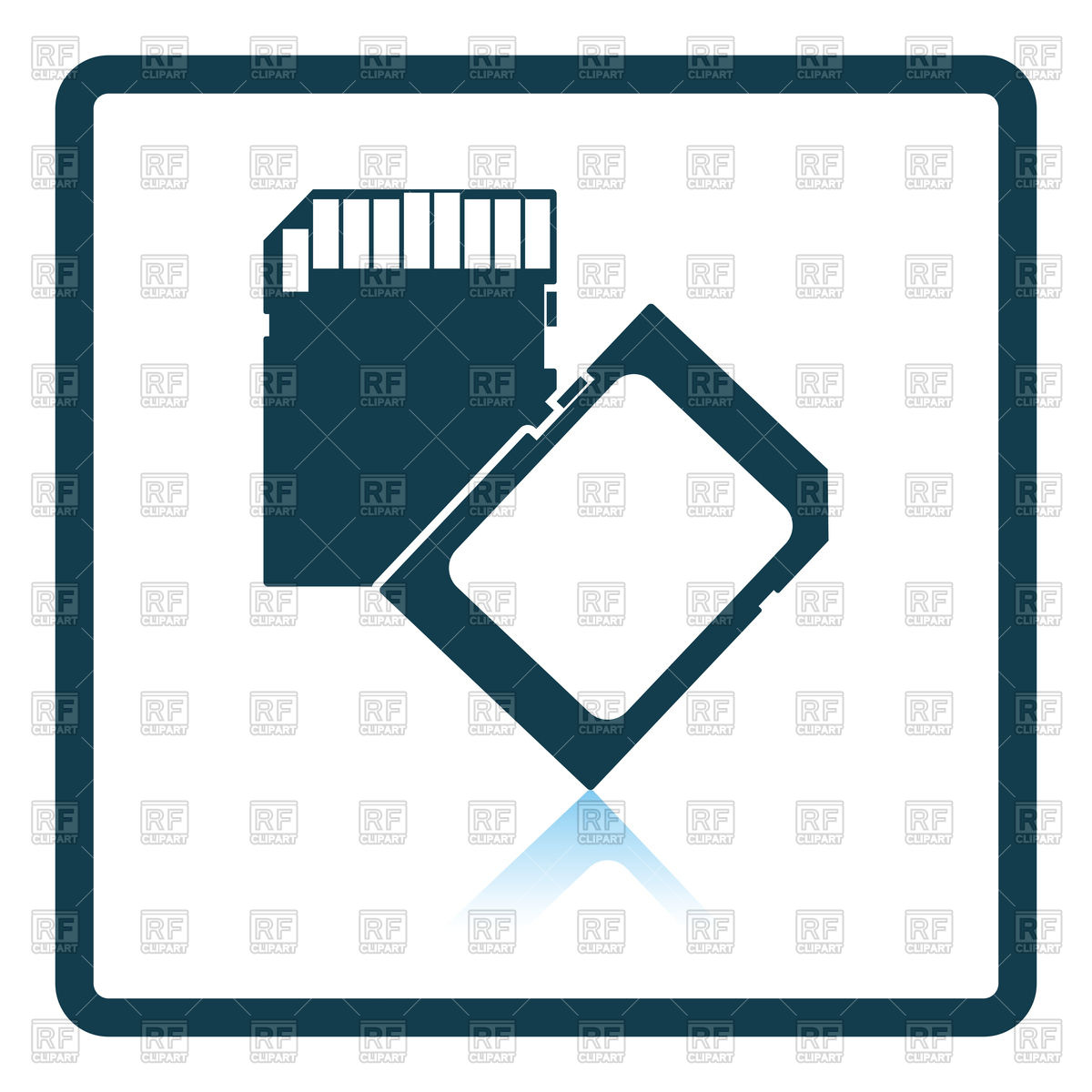 1200x1200 Shadow Reflection Design Of Memory Card Icon Vector Image Vector