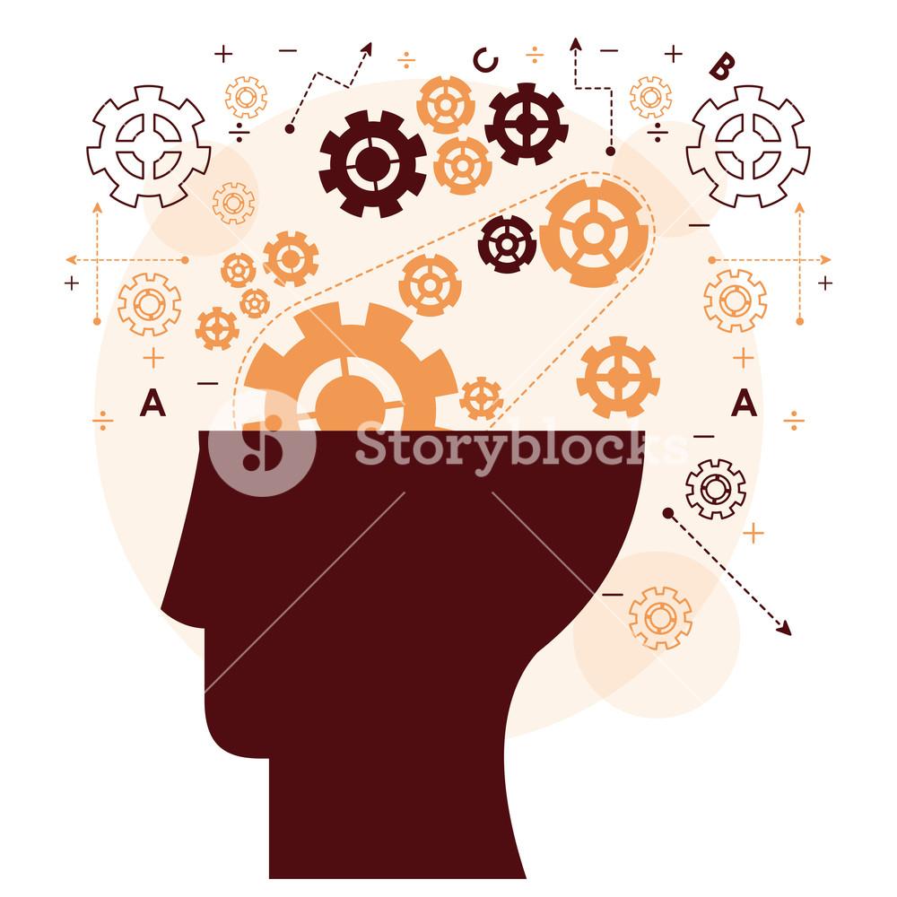 1000x1000 Human Head Mind Gear Memory Mentality Work Vector Illustration
