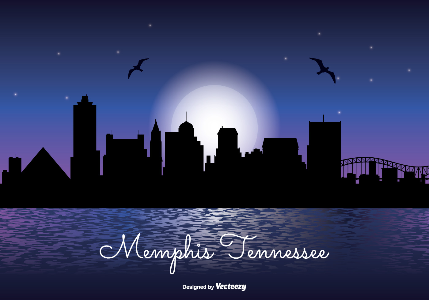 1400x980 Memphis Skyline Free Vector Art