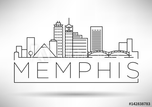 500x354 Minimal Memphis Linear City Skyline With Typographic Design