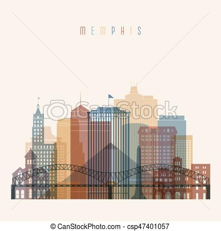 450x470 Transparent Style. Memphis State Tennessee Skyline Detailed