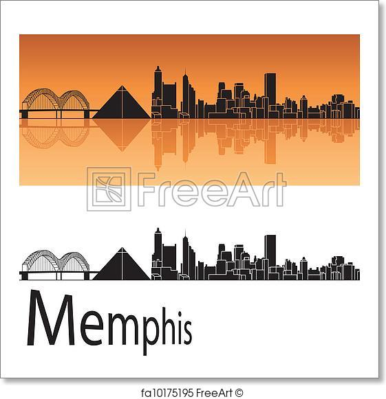 561x581 Free Art Print Of Memphis Skyline. Memphis Skyline In Orange
