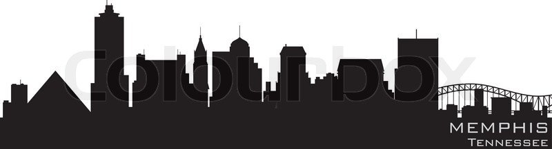 800x217 Memphis, Tennessee Skyline Detailed Vector Silhouette Stock