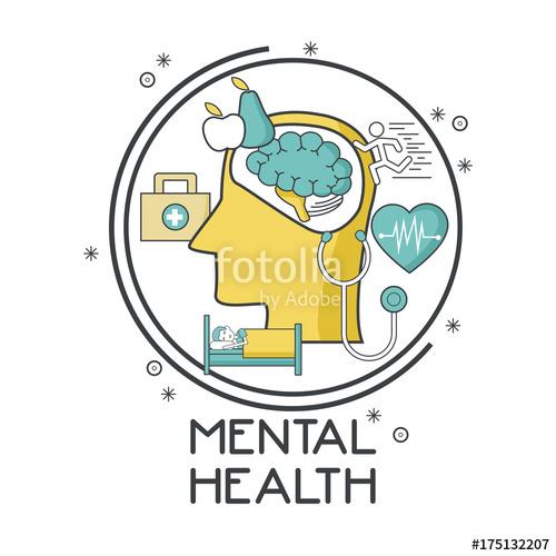 500x500 Mental Health Design Icon Vector Illustration Graphic Design