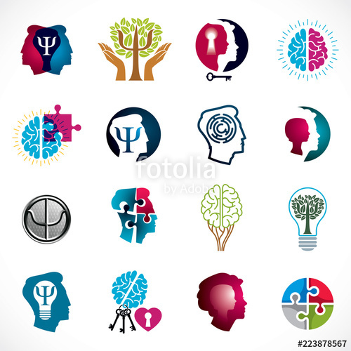 500x500 Psychology, Brain And Mental Health Vector Conceptual Icons Or