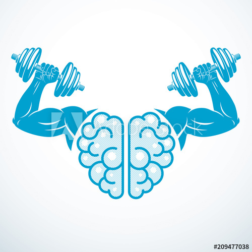 500x500 Brain With Strong Bicep Hands Of Bodybuilder. Power Brain Emblem