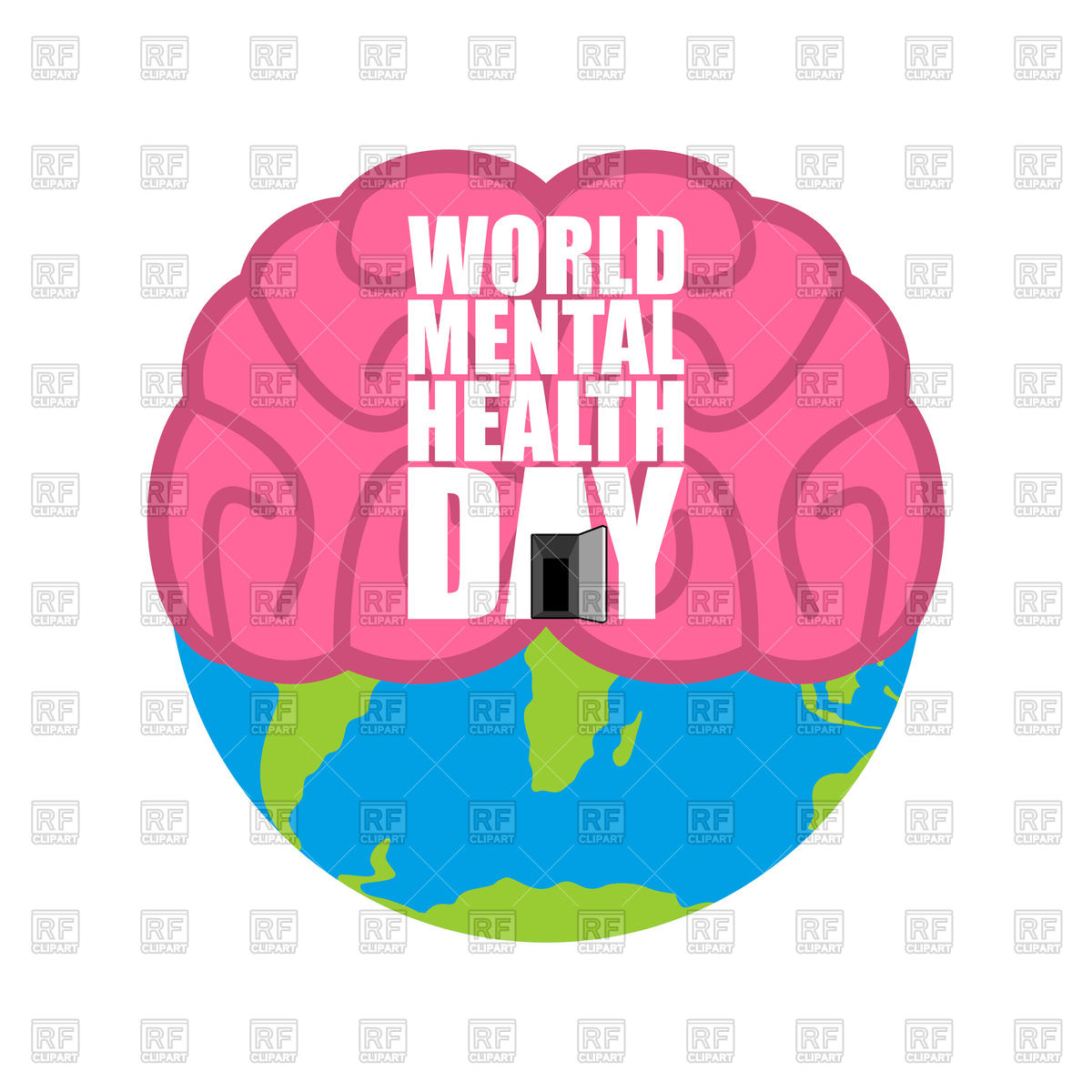 1200x1200 World Mental Health Day. Brain And Earth. Vector Image Vector