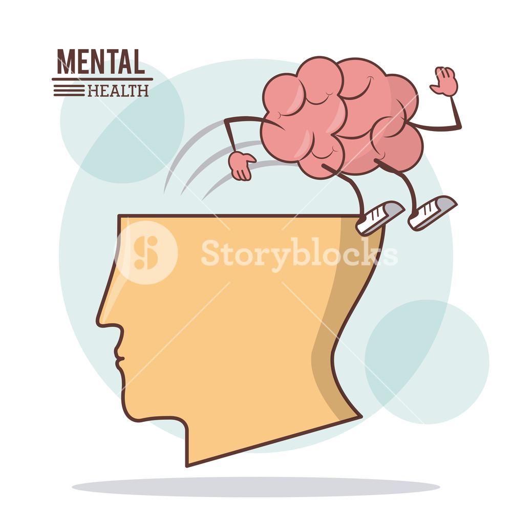 1000x1000 Human Head Brain, Mental Health With Brain Activity Care Vector