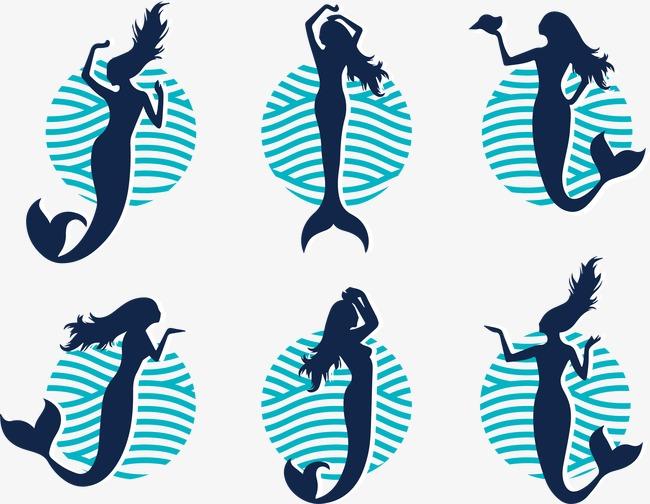 650x504 Mermaid Silhouette Vector Illustration, Mermaid Vector, Silhouette