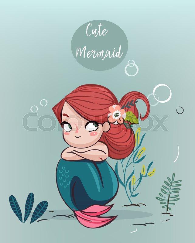 642x800 Cute Cartoon Pink Mermaid