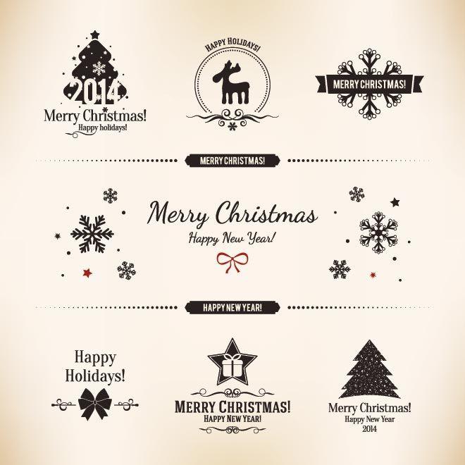 660x660 Free Vector Vintage Label Card Merry Christmas Logo Design