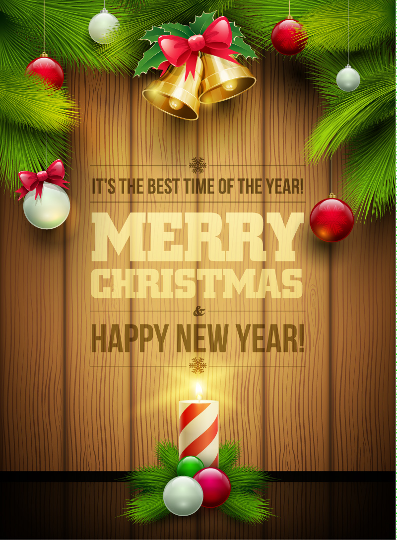800x1088 Merry Christmas Bell Pine Wooden Vector Free Vector Graphic Download