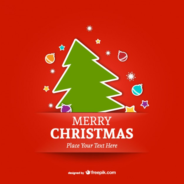 626x626 Merry Christmas Template With Tree Vector Free Download