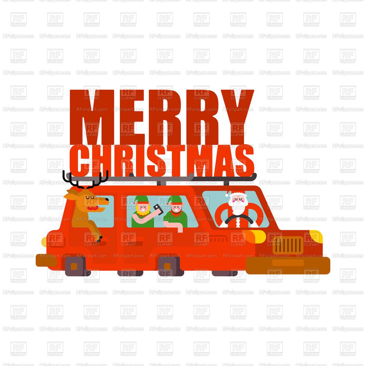 1200x1200 Santa Claus, Deer And Elf In Car. Merry Christmas. Vector Image
