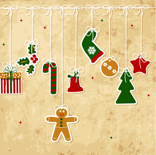 500x496 Set Of Vintage Merry Christmas Cards Vector Graphics 04 Free Download