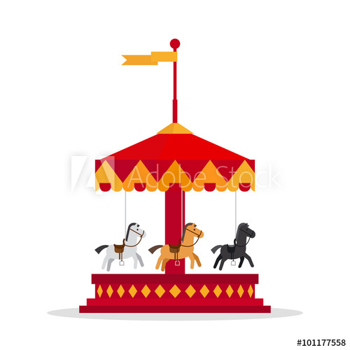 500x500 Kids Carnival Carousel In Flat Style. Merry Go Round Vector