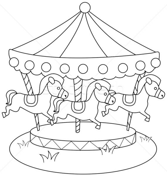 569x600 Line Art Merry Go Round Vector Illustration Lenm ( 596679