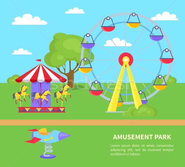 600x540 Amusement Park Sightseeing Wheel, Merry Go Round Vector