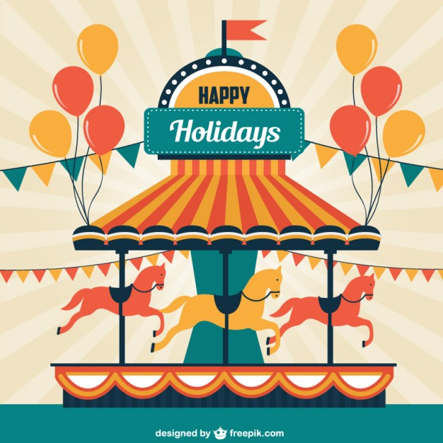 626x626 Merry Go Round Greeting Card Vector Free Download