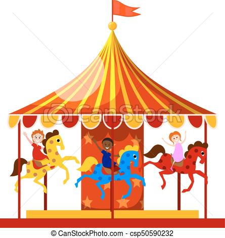 445x470 Merry Go Round Is Circling The Merry Children. Vector Illustration.