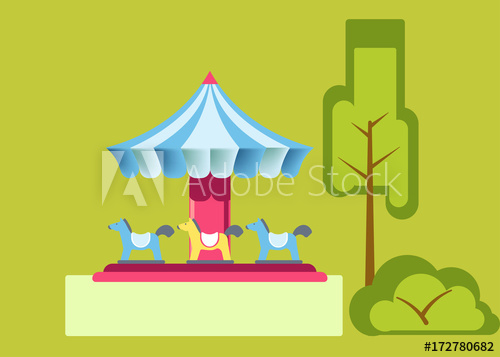 500x357 Amusement Park Attractions Merry Go Round Carousels Vector Flat