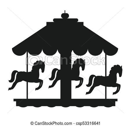 450x432 Rotating Horses Merry Go Round Carousel Black Icon. Rotating
