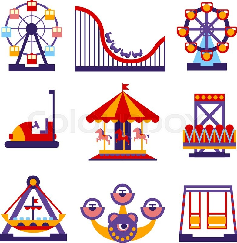 782x800 Set Of Vector Flat Design Amusement Park And Merry Go Round Icons