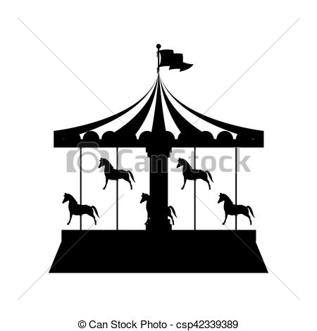 450x470 Silhouette Merry Go Round With Horses Vector Illustration.