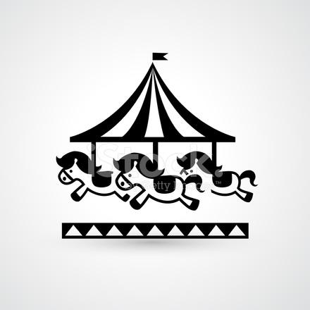 440x440 Vintage Merry Go Round Carousel Icon Vector Stock Vector