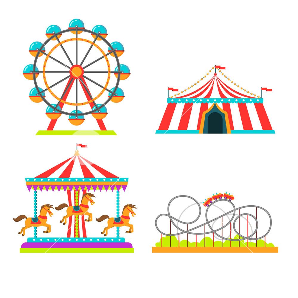 1000x1000 Amusement Park Attractions Rides Vector Illustration. Circus Tent