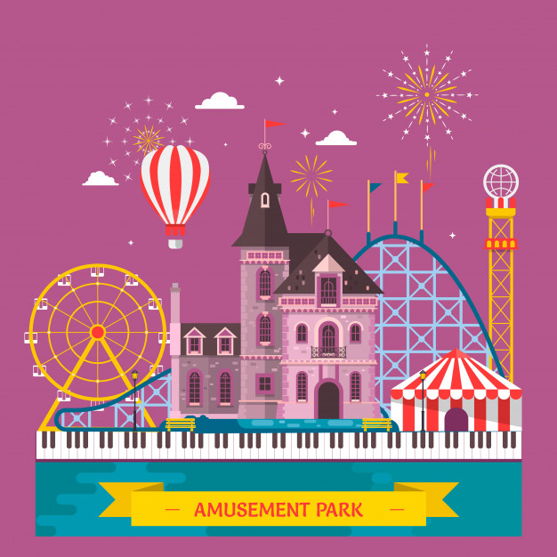 626x626 Amusement Park With Attraction And Rollercoaster, Tent With Circus