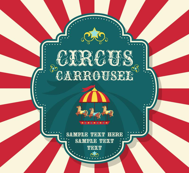 800x734 Beautiful Circus Merry Go Round Background Vector [Ai]