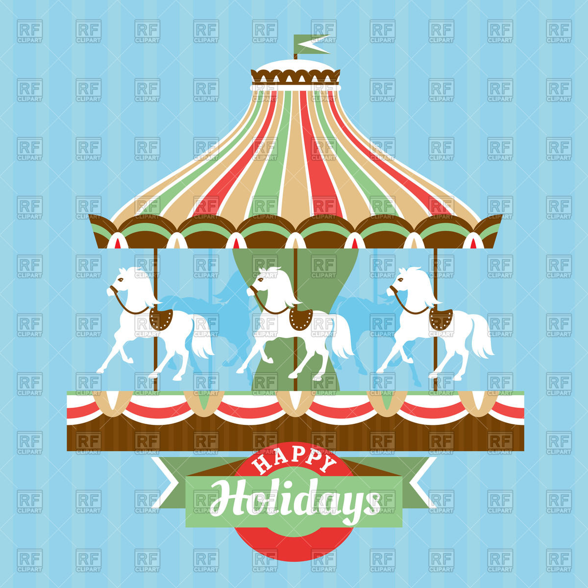 1200x1200 Blue Greeting Card With Merry Go Round Vector Image Vector