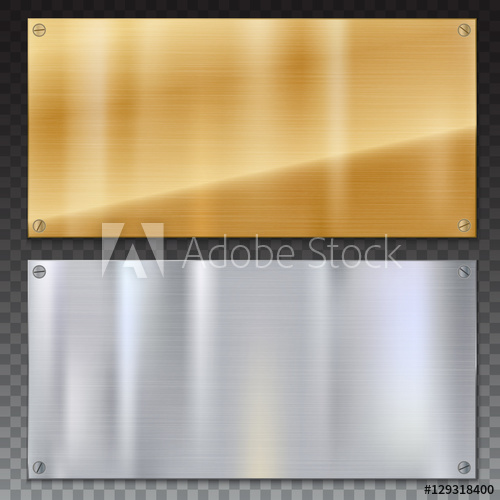 500x500 Shiny Brushed Metal Plate Banners On White Background Stainless