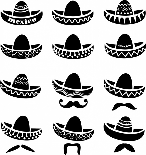 567x600 Mexican Sombrero Hat With Moustache Free Vector In Adobe